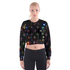 Geometric Line Art Background In Multi Colours Women s Cropped Sweatshirt
