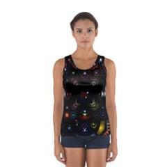 Geometric Line Art Background In Multi Colours Women s Sport Tank Top