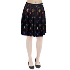 Geometric Line Art Background In Multi Colours Pleated Skirt