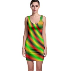 Neon Color Fractal Lines Sleeveless Bodycon Dress