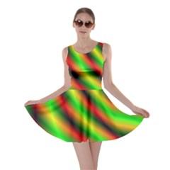 Neon Color Fractal Lines Skater Dress