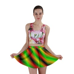 Neon Color Fractal Lines Mini Skirt