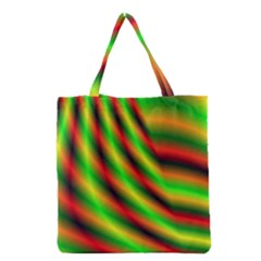 Neon Color Fractal Lines Grocery Tote Bag