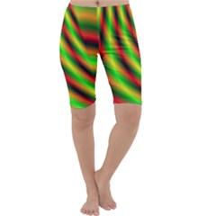 Neon Color Fractal Lines Cropped Leggings