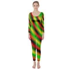 Neon Color Fractal Lines Long Sleeve Catsuit