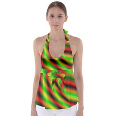Neon Color Fractal Lines Babydoll Tankini Top