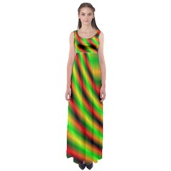 Neon Color Fractal Lines Empire Waist Maxi Dress