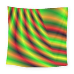 Neon Color Fractal Lines Square Tapestry (large)