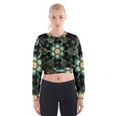 Kaleidoscope With Bits Of Colorful Translucent Glass In A Cylinder Filled With Mirrors Women s Cropped Sweatshirt