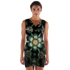 Kaleidoscope With Bits Of Colorful Translucent Glass In A Cylinder Filled With Mirrors Wrap Front Bodycon Dress