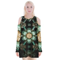 Kaleidoscope With Bits Of Colorful Translucent Glass In A Cylinder Filled With Mirrors Velvet Long Sleeve Shoulder Cutout Dress