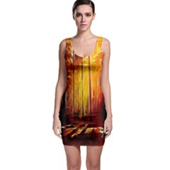 Artistic Effect Fractal Forest Background Sleeveless Bodycon Dress