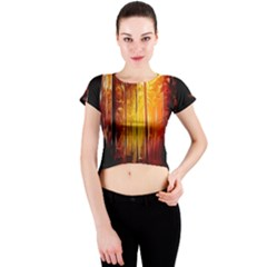 Artistic Effect Fractal Forest Background Crew Neck Crop Top