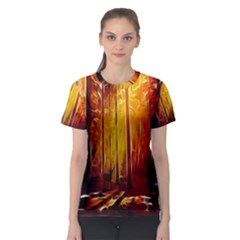 Artistic Effect Fractal Forest Background Women s Sport Mesh Tee
