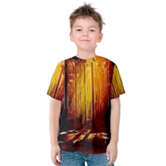 Artistic Effect Fractal Forest Background Kids  Cotton Tee