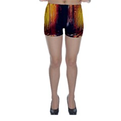 Artistic Effect Fractal Forest Background Skinny Shorts