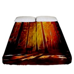 Artistic Effect Fractal Forest Background Fitted Sheet (california King Size)