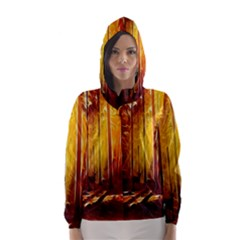 Artistic Effect Fractal Forest Background Hooded Wind Breaker (Women)