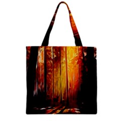 Artistic Effect Fractal Forest Background Zipper Grocery Tote Bag