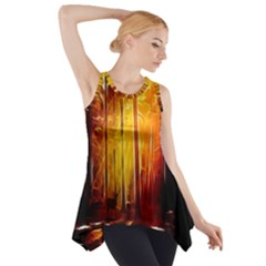 Artistic Effect Fractal Forest Background Side Drop Tank Tunic