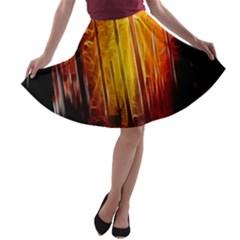 Artistic Effect Fractal Forest Background A Line Skater Skirt