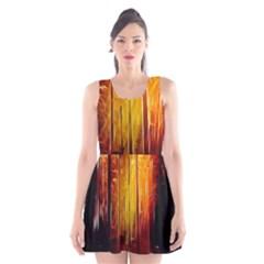 Artistic Effect Fractal Forest Background Scoop Neck Skater Dress