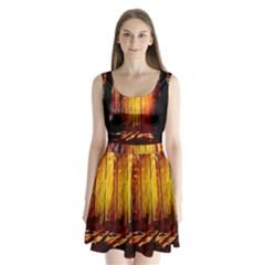 Artistic Effect Fractal Forest Background Split Back Mini Dress