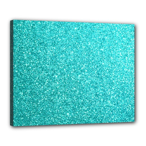 Tiffany Aqua Blue Glitter Canvas 20  x 16