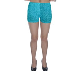 Tiffany Aqua Blue Glitter Skinny Shorts