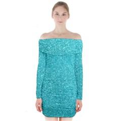 Tiffany Aqua Blue Glitter Long Sleeve Off Shoulder Dress