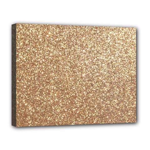 Copper Rose Gold Metallic Glitter Canvas 14  x 11