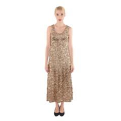 Copper Rose Gold Metallic Glitter Sleeveless Maxi Dress