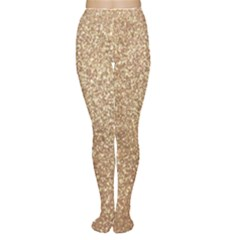 Copper Rose Gold Metallic Glitter Women s Tights