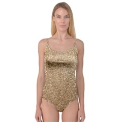 Copper Rose Gold Metallic Glitter Camisole Leotard