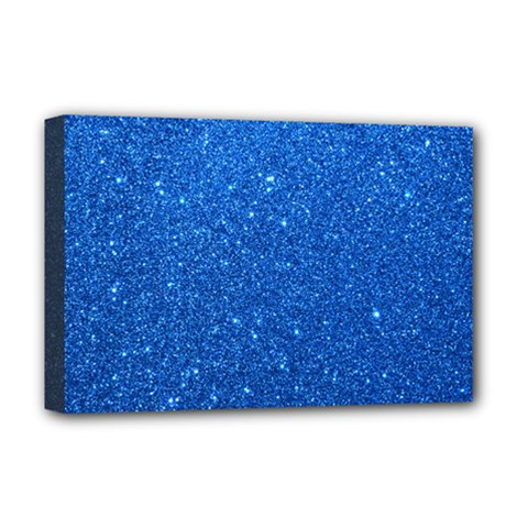 Night Sky Sparkly Blue Glitter Deluxe Canvas 18  x 12