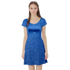Night Sky Sparkly Blue Glitter Short Sleeve Skater Dress