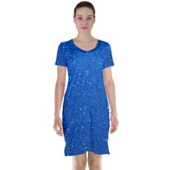 Night Sky Sparkly Blue Glitter Short Sleeve Nightdress