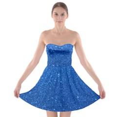 Night Sky Sparkly Blue Glitter Strapless Bra Top Dress