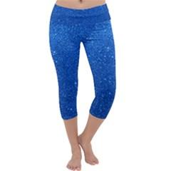 Night Sky Sparkly Blue Glitter Capri Yoga Leggings