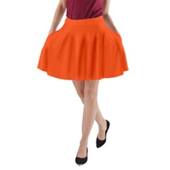 Bright Fluorescent Attack Orange Neon A-Line Pocket Skirt