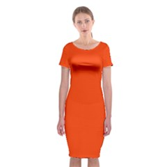 Bright Fluorescent Attack Orange Neon Classic Short Sleeve Midi Dress