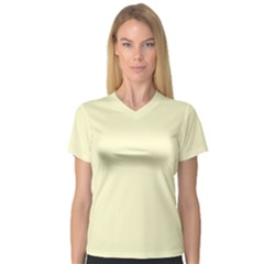 Pastel Lemon Yellow Pale Soft Meringue Yellow Women s V-Neck Sport Mesh Tee
