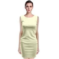 Pastel Lemon Yellow Pale Soft Meringue Yellow Classic Sleeveless Midi Dress