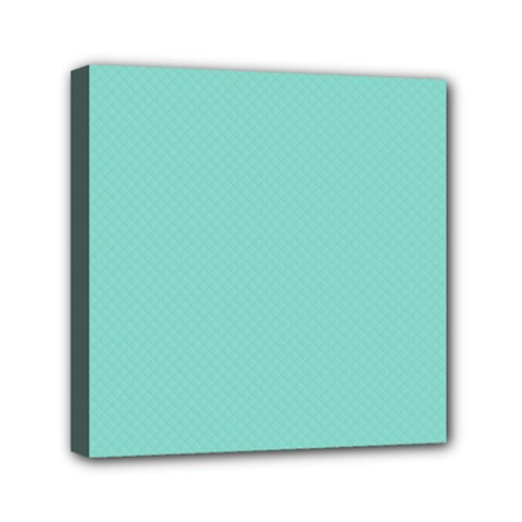 Tiffany Aqua Blue Puffy Quilted Pattern Mini Canvas 6  x 6