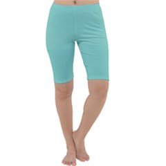 Tiffany Aqua Blue Puffy Quilted Pattern Cropped Leggings