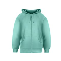 Tiffany Aqua Blue Puffy Quilted Pattern Kids  Zipper Hoodie