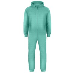 Tiffany Aqua Blue Puffy Quilted Pattern Hooded Jumpsuit (Men)