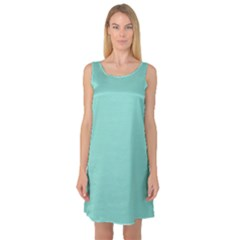 Tiffany Aqua Blue Puffy Quilted Pattern Sleeveless Satin Nightdress