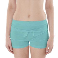 Tiffany Aqua Blue Puffy Quilted Pattern Boyleg Bikini Wrap Bottoms