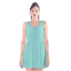 Tiffany Aqua Blue Puffy Quilted Pattern Scoop Neck Skater Dress
